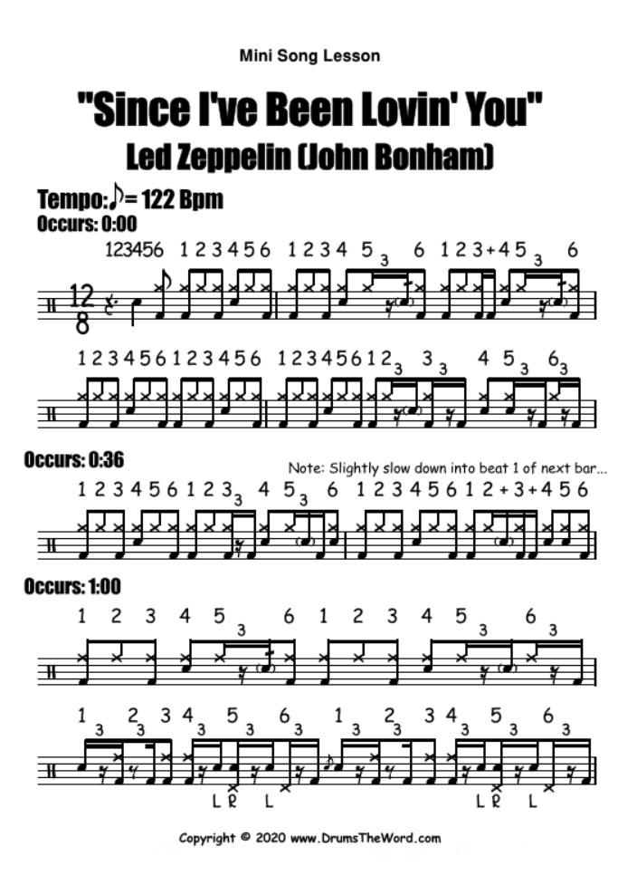 """Since I've Been Lovin' You"" - (Led Zeppelin) Mini Song Lesson Video Drum Lesson Notation Chart Transcription Sheet Music Drum Lesson"
