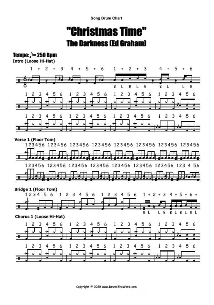 """""""Christmas Time"""" - (The Darkness) Full Song Lesson Video Drum Lesson Notation Chart Transcription Sheet Music Drum Lesson"""