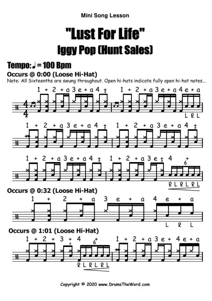 """Lust For Life"" - (Iggy Pop) Mini Song Lesson Video Drum Lesson Notation Chart Transcription Sheet Music Drum Lesson"