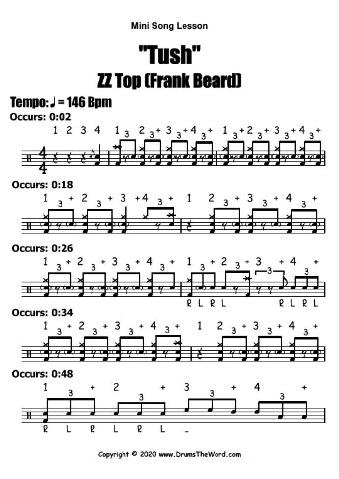 """Tush"" - (ZZ Top) Mini Song Lesson Video Drum Lesson Notation Chart Transcription Sheet Music Drum Lesson"