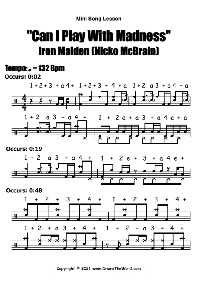 """""""Can I Play With Madness"""" - (Iron Maiden) Mini Song Lesson Video Drum Lesson Notation Chart Transcription Sheet Music Drum Lesson"""