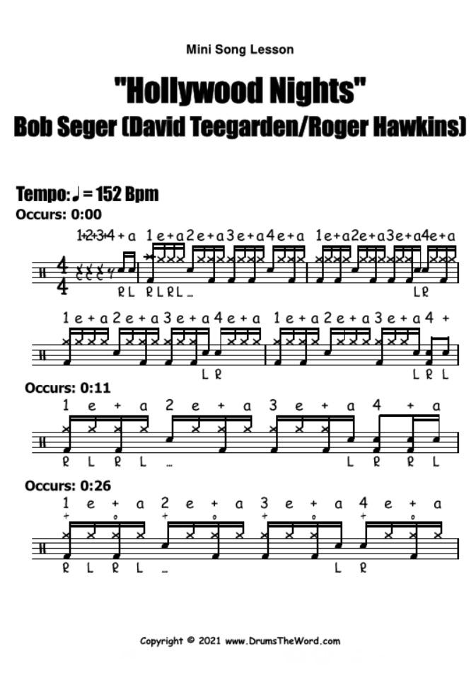 """Hollywood Nights"" - (Bob Seger) Mini Song Lesson Video Drum Lesson Notation Chart Transcription Sheet Music Drum Lesson"