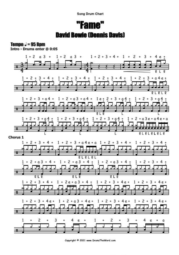 """Fame"" - (David Bowie) Full Song Lesson Video Drum Lesson Notation Chart Transcription Sheet Music Drum Lesson"