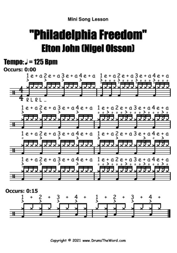 """Philadelphia Freedom"" - (Elton John) Mini Song Lesson Video Drum Lesson Notation Chart Transcription Sheet Music Drum Lesson"