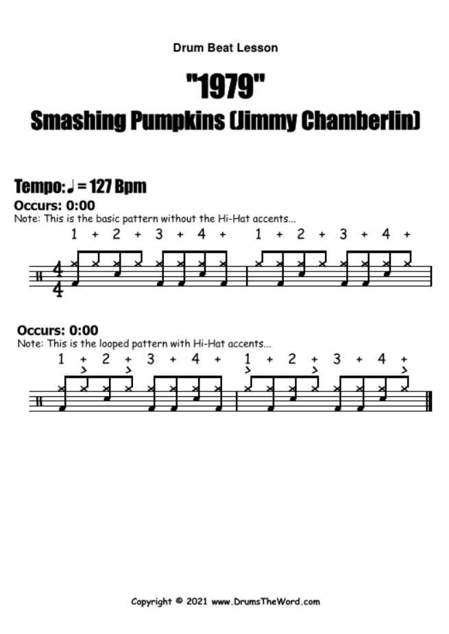 """""""1979"""" - (Smashing Pumpkins) Drum Beat Video Drum Lesson Notation Chart Transcription Sheet Music Drum Lesson"""