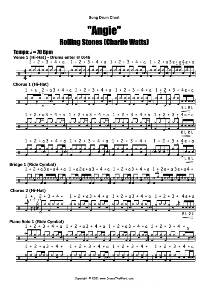 """""""Angie"""" - (The Rolling Stones) Full Song Lesson Video Drum Lesson Notation Chart Transcription Sheet Music Drum Lesson"""