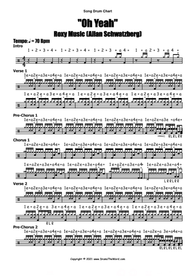 """""""Oh Yeah"""" - (Roxy Music) Full Song Lesson Video Drum Lesson Notation Chart Transcription Sheet Music Drum Lesson"""