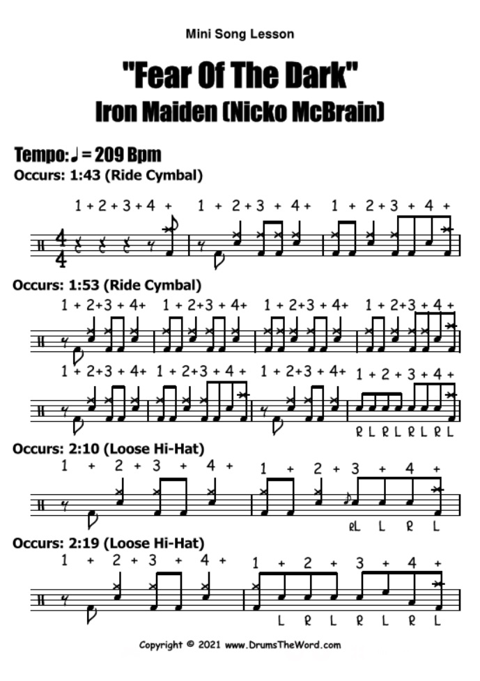 """""""Fear Of The Dark"""" - (Iron Maiden) Mini Song Lesson Video Drum Lesson Notation Chart Transcription Sheet Music Drum Lesson"""